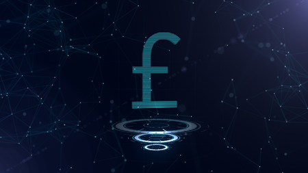 Space blue Currency sign. Britain Pound Sterling. International currency.