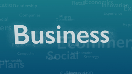 Light blue background with different words, which deal with business. Close up. Copy space. 3D.