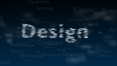 Deep blue background with different words, which deal with design. Blurred type super. Design contains a vast of words inside. Close up. Copy space. 3D.