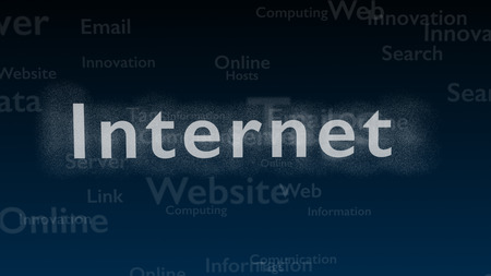 Deep blue background with different words, which deal with internet. Blurred type super. The word internet is shimmering with white light. Close up. Copy space. 3D.