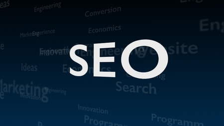 Deep blue background with different words, which deal with Search Engine Optimization. The bold shimering word is situated on the centre of composition. Close up. Copy space. 3D.