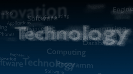 Deep blue background with different words, which deal with technology. Close up. Copy space. 3D.
