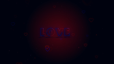 Love is in the air. Little hearts are on dark background with sparks. Conceptual backgroud. Close up. Imagens