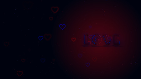 Love is in the air. Little hearts are on dark background with sparks. Conceptual backgroud. Close up. Lettering is on the right side.