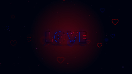 Love is in the air. Little hearts are on dark background with sparks. Conceptual backgroud. Close up. 스톡 콘텐츠