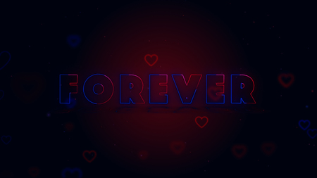 Forever together. Little hearts are on dark mixed background with sparks. Conceptual neon backgroud.