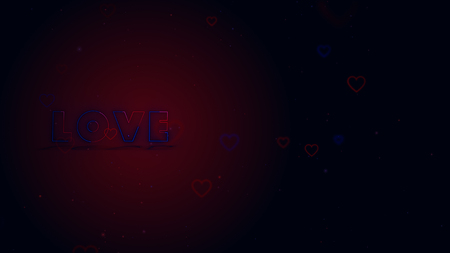 Love is in the air. Little hearts are on dark background with sparks. Conceptual backgroud. Close up. Lettering is on the left side.