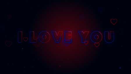 I Love You. Little hearts are on dark background with sparks. Conceptual backgroud. Imagens