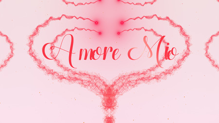 Amore Mio Love confession. Valentines Day heart made of pink splash isolated on light pink background. Share love.