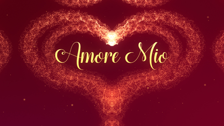 Amore Mio Love confession. Valentines Day heart made of red wine splash isolated on red background. Share love. Zdjęcie Seryjne