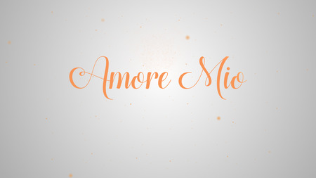 Amore Mio lettering for greeting card design. Festive decoration. Invitation template. Orange inscription on the light white background and by the same token sparks.