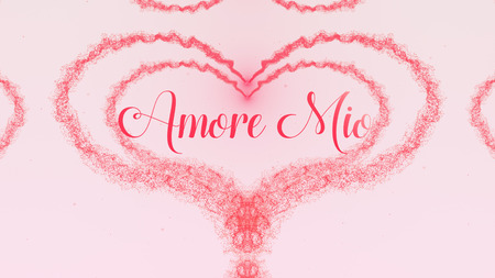 Spowiedź Amore Mio Love. Walentynki serce wykonane z różowym splash na białym tle na jasnoróżowym tle. Dzielić się miłością.