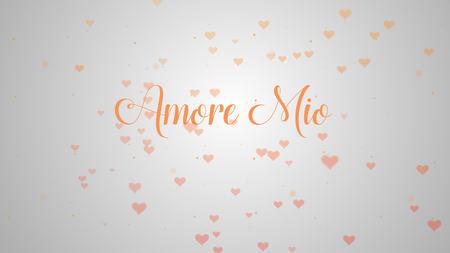 Amore Mio Love confession. Valentines Day heart made of pink splash isolated on light pink embellished with little cute red heart background. Share love.
