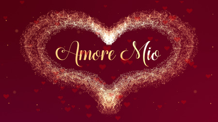 Amore Mio Love confession. Valentines Day heart made of red wine splash isolated on red background, which is bedecked with little cute red hearts. Share love. Zdjęcie Seryjne
