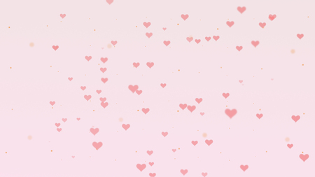 Love background with pink hearts for Valentines Day. Light pink backgrop.