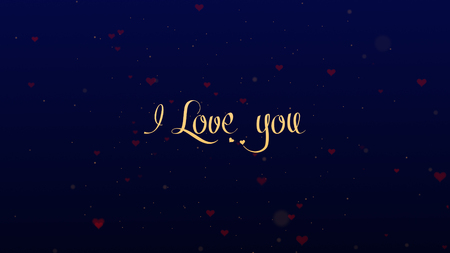 I love you Love confession. Valentines Day lettering, isolated on blue background, which is bedecked with little cute red hearts. Share love.