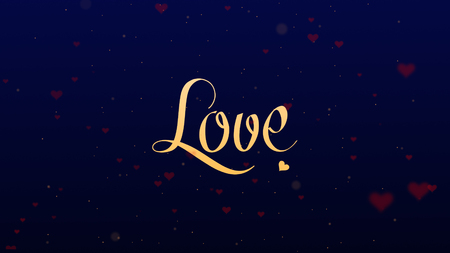Love confession. Valentines Day lettering, isolated on blue background, which is bedecked with little cute red hearts. Share love.