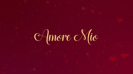Spowiedź Amore Mio Love. Napis Walentynki jest na białym tle na czerwonym tle, który jest przystrojony małymi uroczymi czerwonymi sercami. Dzielić się miłością.
