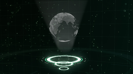 Digital data globe - abstract illustration of a scientific technology. Data network. Surrounding planet earth on three looping circles. 3D. Close up. copy space.