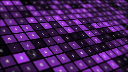 Futuristic graphic interface on background of fantastic symmetric number mainframes.