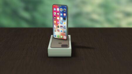 Chernivtsi, Ukraine - July 11, 2019: New iPhone 11 is on the unpacked box, on wooden desk, rotating. 4K.