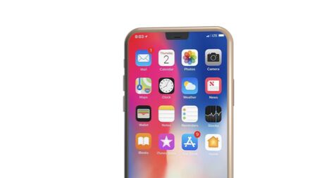 Chernivtsi, Ukraine - July 11, 2019: Modern version of golden slim iPhone 11. Front view, close up.