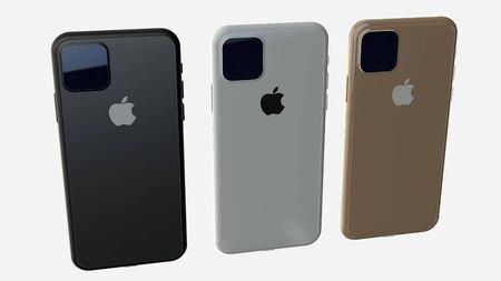 Chernivtsi, Ukraine - July 11, 2019: Set of all colors iPhones 11. Back view. Éditoriale