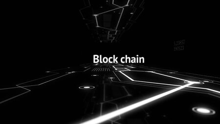 Blockchain industrial strategy concept abstract background.