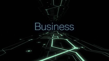 Word business on the dark background with illuminating lines of digital tunnel. 스톡 콘텐츠 - 130101909