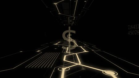 Triple exposure dollar symbol on virtual screen.