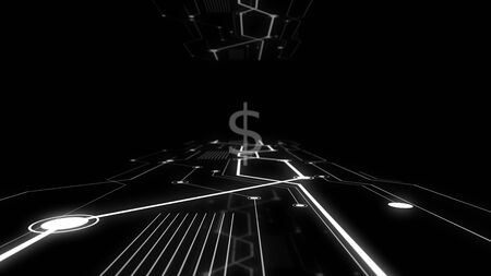 Double exposure of american dollar symbol and visual network in darkness.