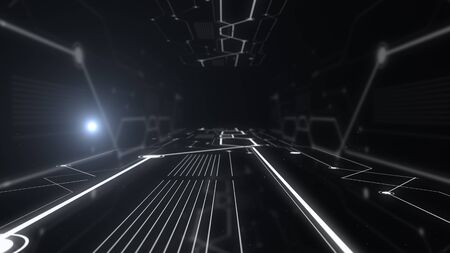 Futuristic tunnel with light blockchain lanes.