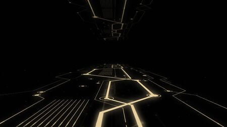 Shot of corridor in working data center full of servers and high tech visualisation connections.
