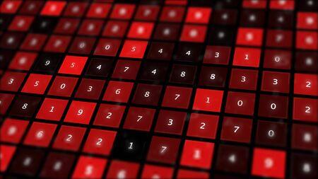 Schermo binario rosso con griglia di numeri. Archivio Fotografico