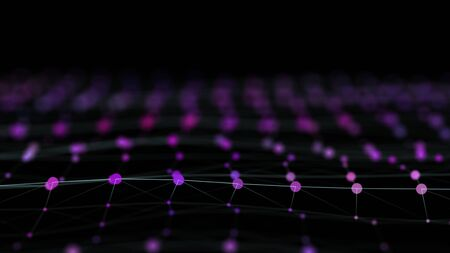 Technological net of neon particles surface and their reflection on dark background. Banque d'images - 131256313