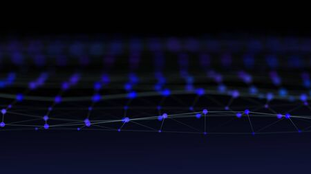 Particles form line and abstract surface 3d rendering grid. Banque d'images - 131246489
