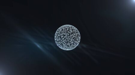 Glowing sphere with gridded particles surface in darkness.