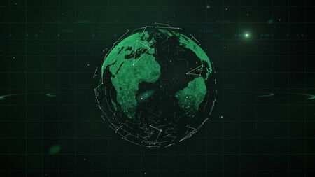 Shining green planet surrounded with geometric particles net rotating in space.