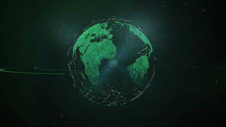 Abstract scientific background - green hologram of planet. Imagens