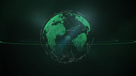 Planet Earth in outer space. Imaginary view of green glowing earth orbit in a star field.