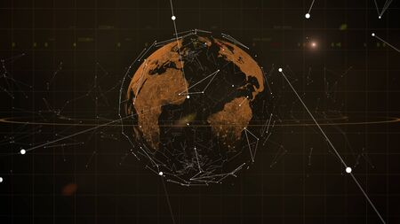 The abstract shooting stars or falling meteor rain background. Gold continents planet surrouded by the virtual blockchain orbit.
