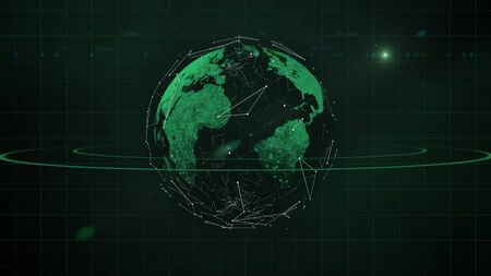 Abstract green planet shining, obvoluted in worldwide business network.
