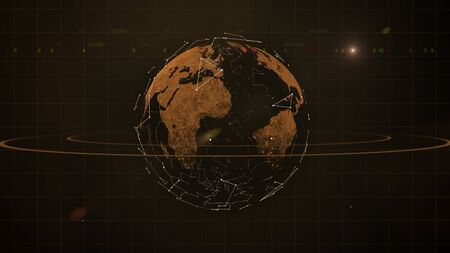 Earth polygon mesh planet with rings around it is floating in dark space. Imagens