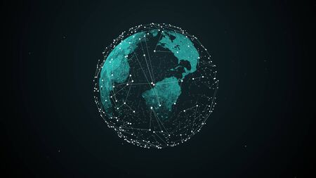 Fintech concept. Hologram of planet Earth connections between mainlands economic centers on the dark backdrop. Blockchain on the forefront. Imagens