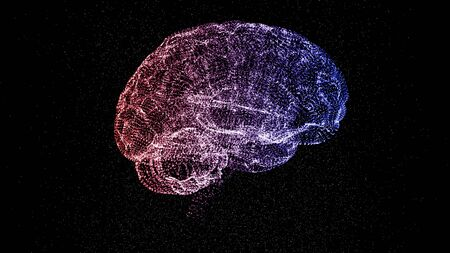 Scheme of abstract colorful brain on black background. Creative mind concept.