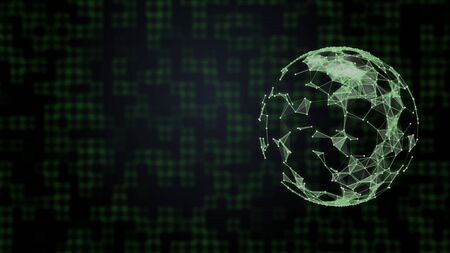 Eco-friendly technology background. Planet covered in green network over hi-tech background of squares connecion.