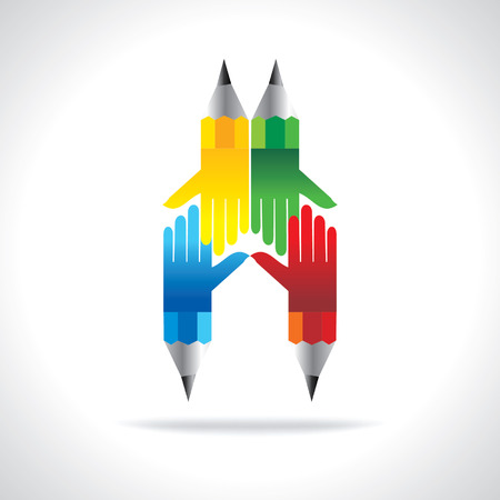 colorful pencil with hands team work idea concept Vector