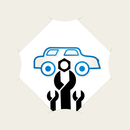 caring: wrench spanner caring of car Illustration