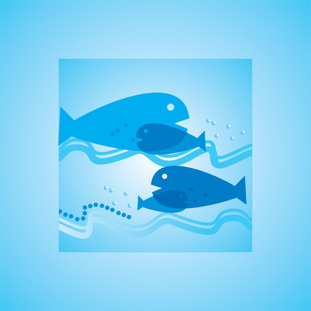 bubble sea anemone: fish blue background with water Illustration