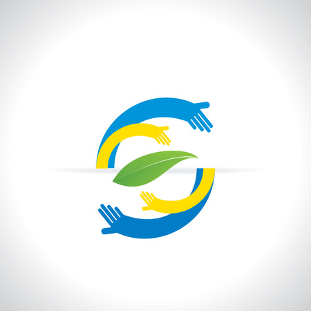 caring: hands caring green leaf - save green concept Illustration